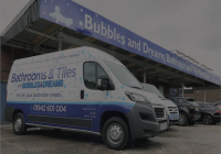 Bubbles and Dreams Bathroom and Tile Warehouse delivery Van
