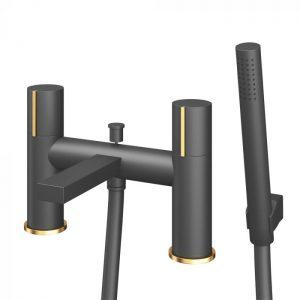 Bath Shower Mixer Black & Gold 82369